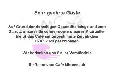 Schließung Café